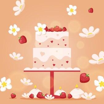 Bolo de casamento em estilo simples
