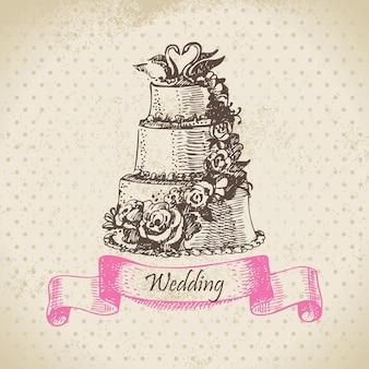 Bolo de casamento. ilustração desenhada à mão