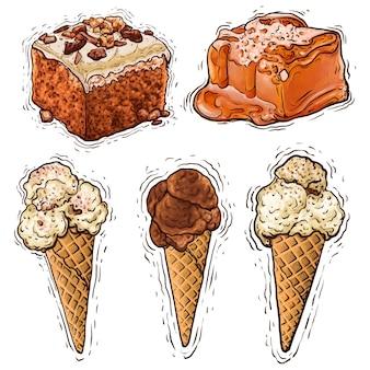 Bolo de chocolate, amendoim, caramelo e sorvete, sobremesa, ilustração em aquarela