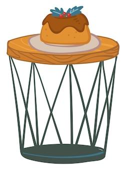 Bolo de chocolate com folhas de visco e grãos por cima. mesa isolada com sobremesas doces para férias. mesa ou balcão contemporâneo. natal e ano novo, festa de natal. vetor em estilo simples