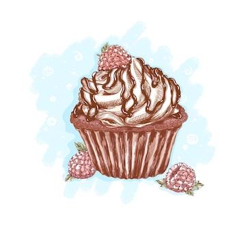 Bolo de chocolate com natas, cobertura de chocolate e framboesas. deliciosas sobremesas e doces.