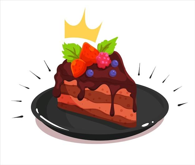 Bolo de chocolate real com frutas dos desenhos animados ilustração do ícone do vetor