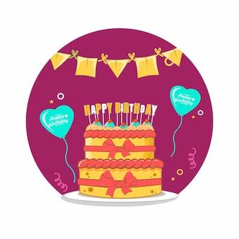 Bolo de feliz aniversário com balão de amor, design plano de decoração de bandeira