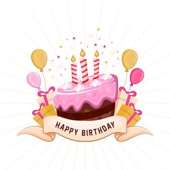 Bolo de feliz aniversário com velas