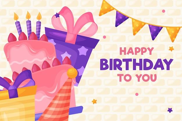Bolo de feliz aniversário e caixas de presente com fitas