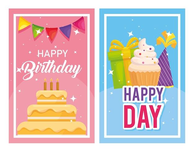 Bolo de feliz aniversário e muffin na ilustração de banners