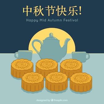 Bolo de lua do tradicional festival de outono