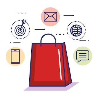 Bolo de papel dom compras conceito de internet on-line