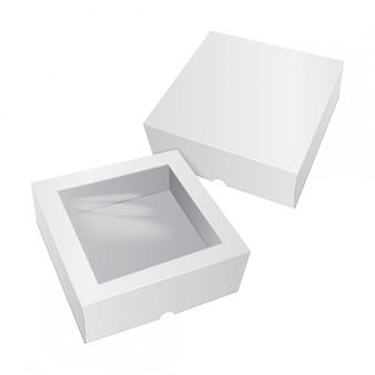 Bolo de papelão caixa branca. para fast food, presente, etc.
