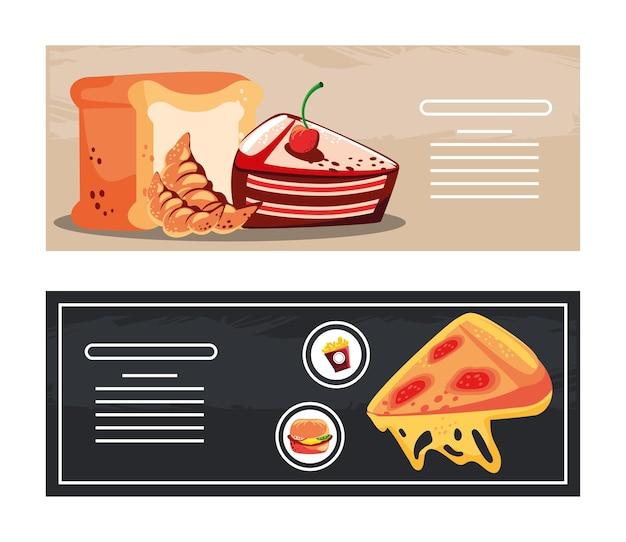 Bolo de pizza de sobremesa fast food