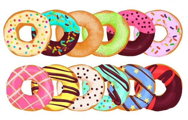 Bolo de rosquinhas donuts juntos.