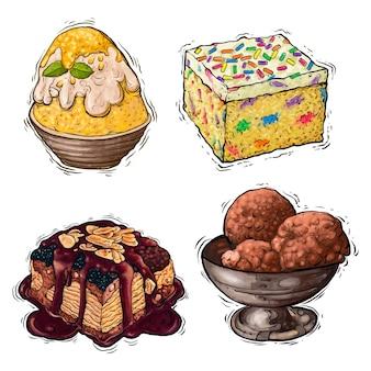 Bolo de sobremesa e ilustração em aquarela de creme