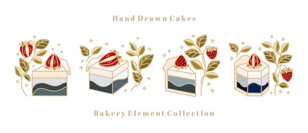 Bolo desenhado à mão, pastelaria, coleção de elementos de logotipo de padaria isolada