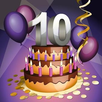 Bolo do décimo aniversário com números, velas e balões