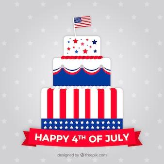 Bolo do dia da independência americana com design plano