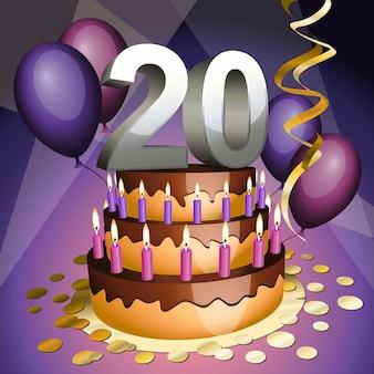 Bolo do vigésimo aniversário com números, velas e balões