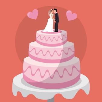 Bolo doces casais bonecas casamento