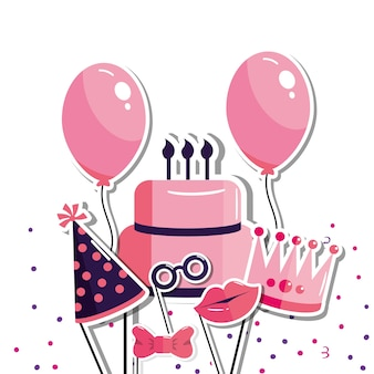 Bolo e balões para feliz aniversário