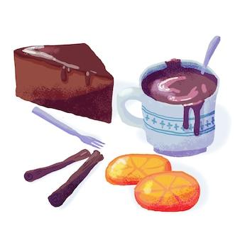 Bolo e chocolate quente de comida caseira
