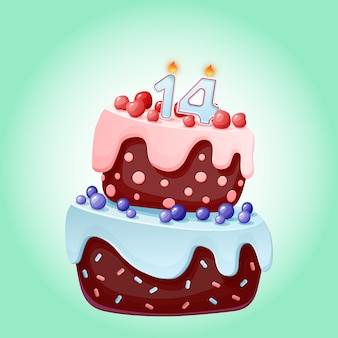 Bolo festivo de aniversário bonito dos desenhos animados com vela número catorze.
