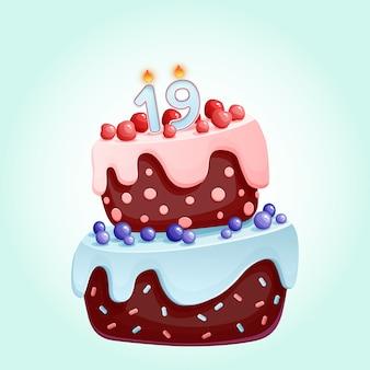 Bolo festivo de aniversário bonito dos desenhos animados com vela número dezenove.