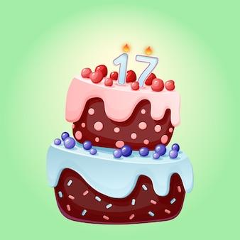 Bolo festivo de aniversário bonito dos desenhos animados com vela número dezessete. biscoito de chocolate com frutas, cerejas e mirtilos.