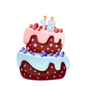 Bolo festivo de aniversário bonito dos desenhos animados com vela número dezoito. biscoito de chocolate com frutas, cerejas e mirtilos.