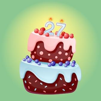Bolo festivo de aniversário bonito dos desenhos animados de vinte e sete anos com vela número 27. biscoito de chocolate com frutas, cerejas e mirtilos. para festas, aniversários