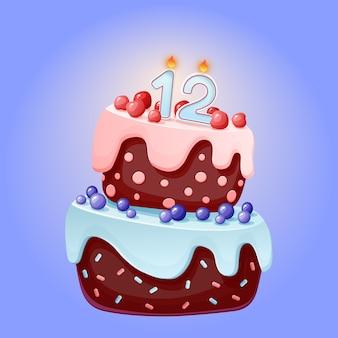 Bolo festivo de aniversário de 12 anos bonito dos desenhos animados com vela número doze