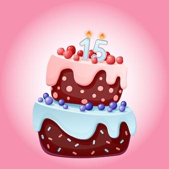 Bolo festivo de aniversário de 15 anos bonito dos desenhos animados com o número de vela quinze