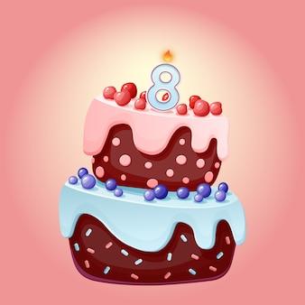 Bolo festivo de aniversário de 8 anos bonito dos desenhos animados com vela número oito