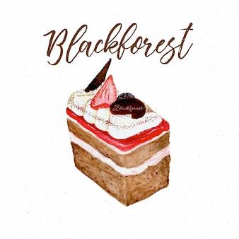 Bolo floresta negra, mão desenhar desenho cor de água.