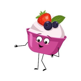 Bolo fofo ou personagem de iogurte com emoções alegres sorriso rosto olhos felizes braços