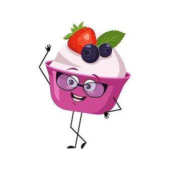 Bolo fofo ou personagem de iogurte com óculos e emoções alegres sorriso rosto olhos felizes braços e pernas