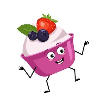 Bolo fofo ou personagem de iogurte com sorriso de emoções alegres