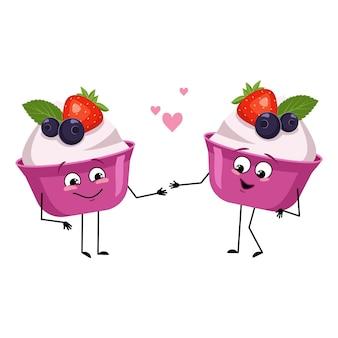 Bolo fofo ou personagens de iogurte com emoções de amor, rosto sorridente, braços e pernas