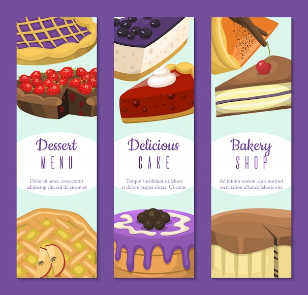 Bolo loja conjunto de banners. sobremesas de chocolate e frutas para confeitaria
