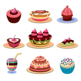 Bolos brilhantes e sobremesa ícones conjunto ilustração vetorial