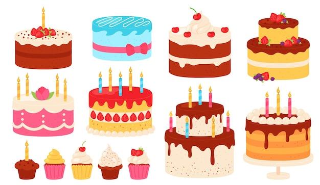 Bolos de aniversário. bolo de chocolate e rosa com cobertura de creme e velas. bolinhos doces de desenho animado para a festa. conjunto de vetores de feliz aniversário. sobremesa de bolo de aniversário com creme, ilustração deliciosa de padaria