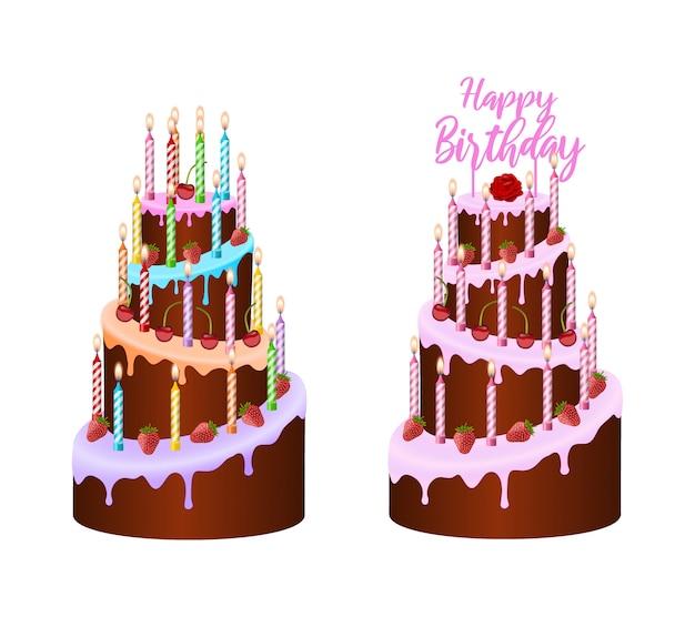 Bolos de aniversário coloridos isolados