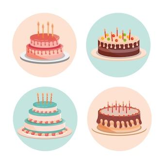 Bolos de aniversário com velas e deliciosas ilustrações de creme