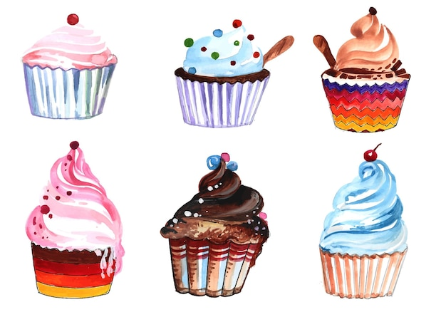 Bolos de aniversário desenhados à mão em aquarela