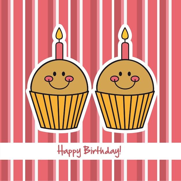 Bolos de copa fofa sobre vetor de feliz aniversário de fundo rosa