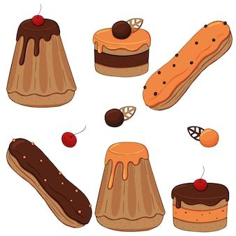 Bolos de creme de caramelo de chocolate com frutas
