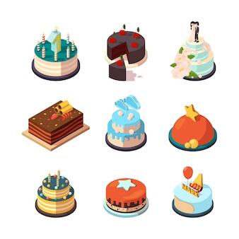 Bolos de festa. comida saborosa e doce com bolos de aniversário com creme de morango e chocolate Vetor Premium