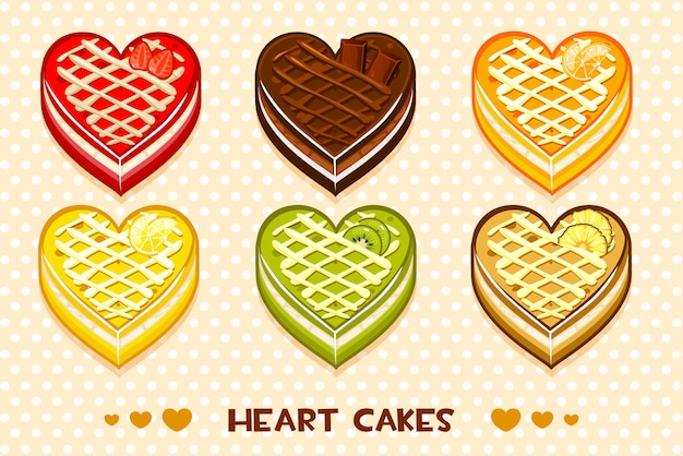 Bolos de frutas e chocolate em forma de coração