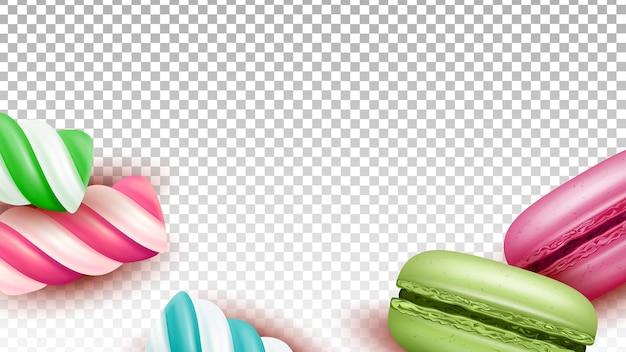 Bolos de macaroons e vetor de doces de pirulito. biscoitos de macaroons assados e deliciosa sobremesa de pirulito listrado açucarado, nutrição doçura. ilustração 3d realista de modelo de comida