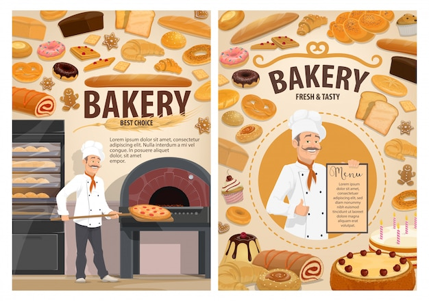 Bolos de padaria, menu de pastelaria de padaria
