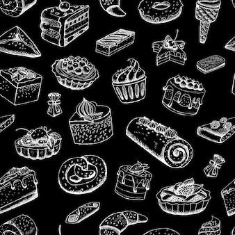 Bolos doces no quadro-negro