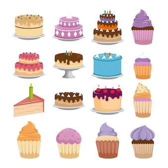 Bolos doces set ícones vector design ilustração
